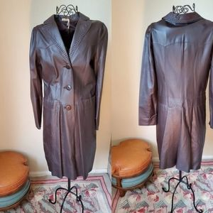 90s Dark Brown Leather 3/4 Length Coat by MAX STUD